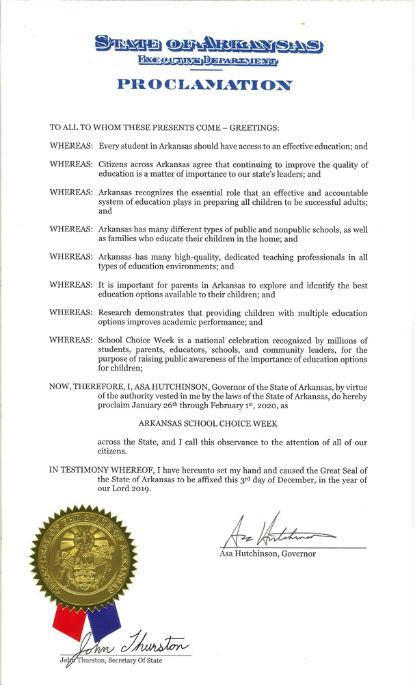 Governor Proclaims Arkansas School Choice Week